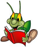 Happy Green Bug 01 - Reading Book Stock Photography