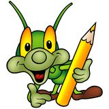 Happy Green Bug as painter Royalty Free Stock Images