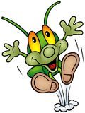 Happy Green Bug - happy jump Stock Photo