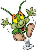Happy Green Bug - happy jump Stock Photo