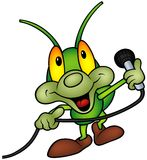 Happy Green Bug with microphone. Happy Green Bug 06 - bug with microphone, cartoon illustration as vector Royalty Free Stock Photos
