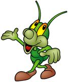 Happy Green Bug - walking Stock Image