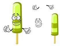 Happy green cartoon frozen ice cream Royalty Free Stock Photo