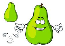 Happy green cartoon pear giving a thumbs up Stock Photo