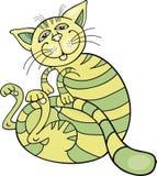 Happy green cat. Cartoon illustration of happy green cat Royalty Free Stock Photography