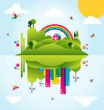 Happy green city spring time concept illustration royalty free illustration