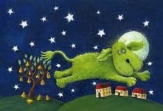 Happy green dog jumping - night scene vector illustration