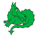 Happy green dragon. Colour line cartoon drawing of a happy green dragon Royalty Free Stock Photography