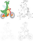 A happy green dragon riding a bicycle. Dot to dot game for kids Royalty Free Stock Photos