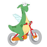 A happy green dragon riding a bicycle Stock Image