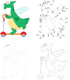 A happy green dragon riding a kick scooter. Dot to dot education Royalty Free Stock Photos