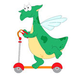 A happy green dragon riding a kick scooter Stock Image