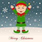 Happy Green Elf Wishing a Merry Christmas Stock Image