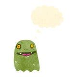 Happy green ghost cartoon Royalty Free Stock Photos