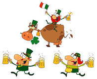Happy green leprechauns dancing with cow. Cartoon character Stock Images