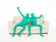 Happy green men Royalty Free Stock Image