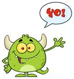 Happy Green Monster Cartoon Emoji Character Waving For Greeting With Speech Bubble And Text Yo!. Illustration Isolated On White Background Royalty Free Stock Photos