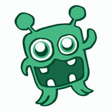 Happy green monster cartoon for kids Stock Photo