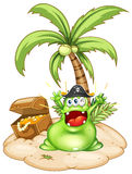 A happy green monster in an island vector illustration