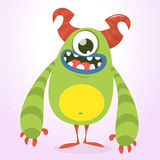 Happy green monster. Vector Halloween  monster character with one eye. Vector  Royalty Free Stock Photos
