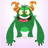 Happy green monster. Vector Halloween  monster character smiling and waving. Stock Image
