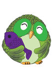 Happy Green owl. Green owl and the purple fish Stock Photo