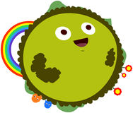 Happy Green Planet With Rainbow Royalty Free Stock Images