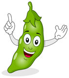 Happy Green Pod of Peas Character Stock Photos