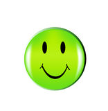 Happy green smile face button Stock Image