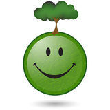 Happy Green tree smiley face. A happy Green smiley face that want you to save the environment Royalty Free Stock Images