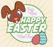Happy Greeting Card for Easter Party Inviting you to Participate, Vector Illustration Royalty Free Stock Photography