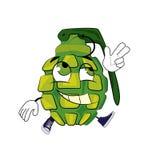 Happy grenade cartoon Royalty Free Stock Photos
