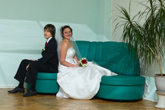 Happy groom and bride royalty free stock photography
