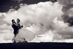 Happy groom and bride go round Royalty Free Stock Photo