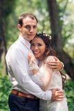 Happy groom and bride Royalty Free Stock Photos