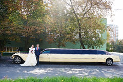 Happy groom and bride about long retro limousine Stock Photos