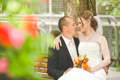 Happy groom and bride look at each other Royalty Free Stock Photos