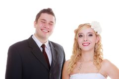 Happy groom and bride posing for marriage photo royalty free stock photography