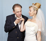 Happy groom and bride Royalty Free Stock Image