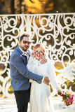 Happy groom and bride together. Royalty Free Stock Photos