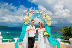 Happy groom and bride with wedding rings under the arch decorate Stock Photography