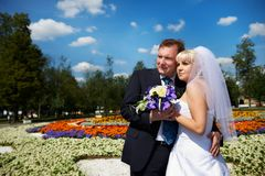 Happy groom and bride wedding walk on Royalty Free Stock Images