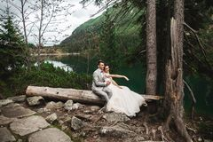 Happy groom and his charming new wife holding each other while sitting on the shore of forest lake Morskie Oko stock photography