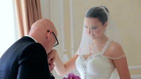 Happy Groom Seeing His Beautiful Bride stock video