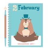 Happy Groundhog card background with marmot Stock Photo