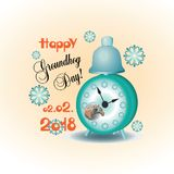 Happy Groundhog Day! Alarm clock with cute groundhog. Design for a postcard with a banner, poster, printing on fabric or paper Royalty Free Stock Photography