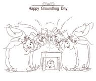 Happy Groundhog day card with group of men in cylinder hats and Stock Photo
