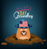Happy groundhog day card holiday Royalty Free Stock Photo
