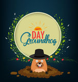 Happy groundhog day card holiday Royalty Free Stock Photos
