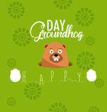 Happy groundhog day card holiday Stock Image